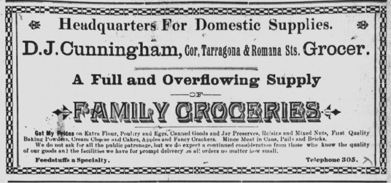Advertisement for D.J. Cunningham's Grocery