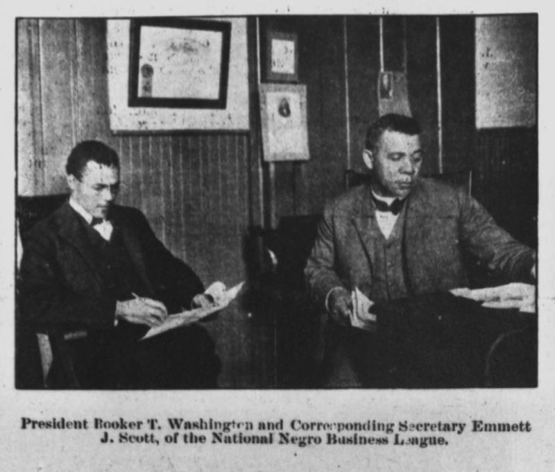 President Booker T. Washington and Corresponding Secretary Emmett J. Scott, of the National Negro Business League